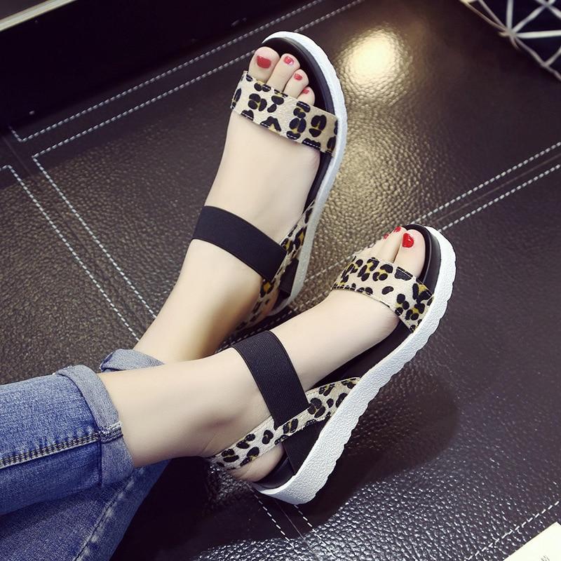 2019 Summer Shoes Woman Platform Sandals Leopard Gladiator Style Female Fashion Flat Sandalias Peep Toe Ladies Beach Footwear