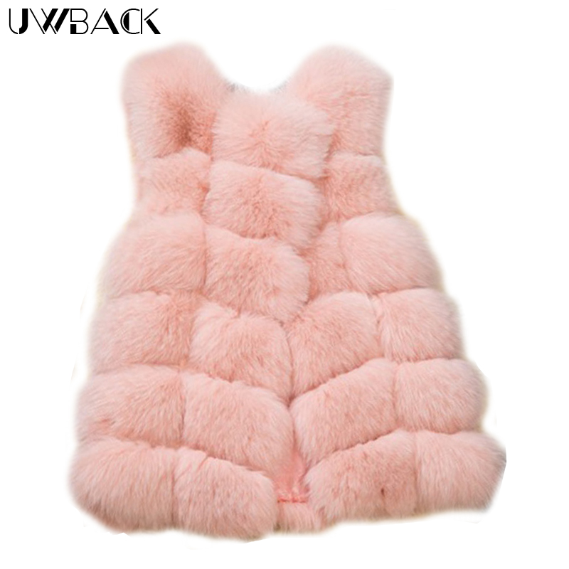 Uwback Coat Women Fuax Fur Coat Femme Warm Fur Vest Soft 2017 New 9 Color Winter Mujer Long Vest Black/Pink/Gray Jacket,EB214