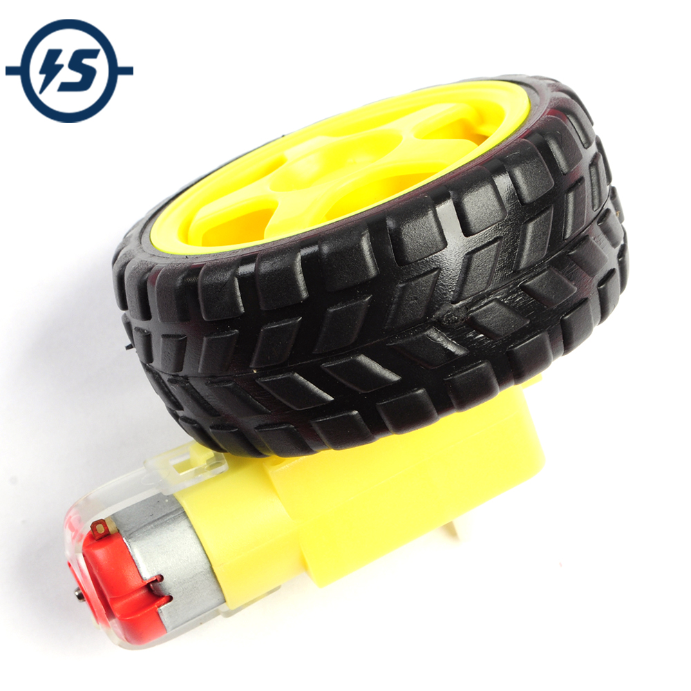 3V 6V Smart Car Robot Plastic Tire Wheel + DC Gear Motor For Intelligent Tracking Line Smart Car Kit TT Motor Electronic DIY Kit