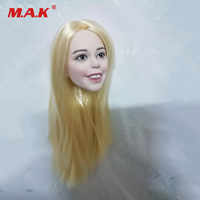 1/6 Scale Pale Happy Beautiful Female Head Sculpt Straight Golden Hair Head Carving Head Sculpt for 12 inches Action Figure Toys