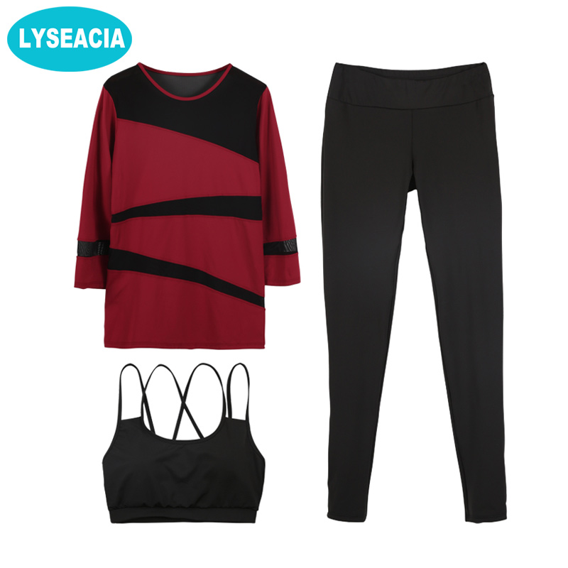 LYSEACIA 3/4 Sleeve Yoga Set Mesh Sports Suit for Women Backless Strappy Bra Sport Leggings Sportswear Breathable Fitness Suit 2018 new bright gym clothes colors solid and patchwork female summer yoga suit t shirt bra leggings 3 pieces yoga set for women
