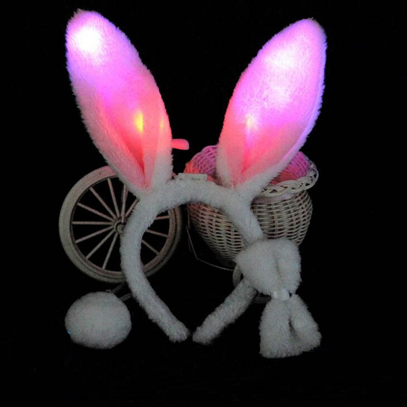 Light Flashing LED Plush Fluffy Bunny Rabbit Ears Headband Tail Tie Costume Accessory Cosplay Woman Girl Halloween