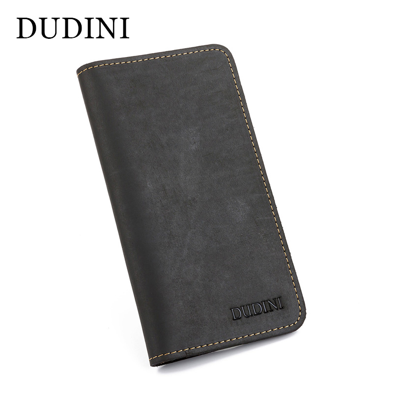 [DUDINI] Male Cowhide 2 Folds Genuine Leather Men Wallets Luxury Dollar Price Long Style Male Purse ID Card  Handmade Wallet baellerry small mens wallets vintage dull polish short dollar price male cards purse mini leather men wallet carteira masculina