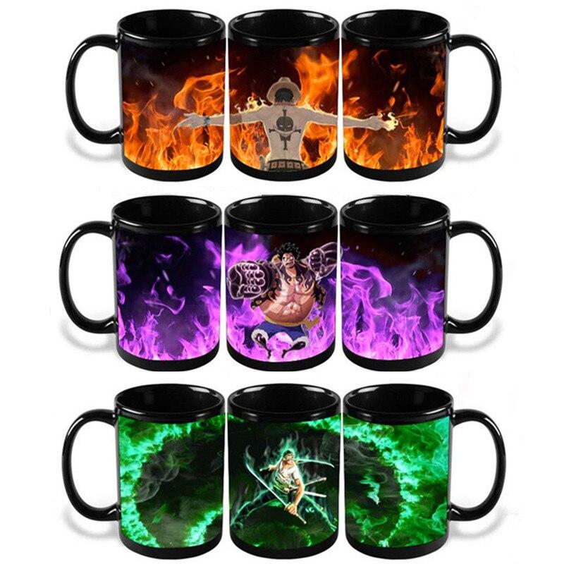 Anime Coffee <font><b>Cup</b></font> Mug One Piece Luffy Zoro <font><b>Ace</b></font> Hot Changing Color Heat Reactive Tea Milk <font><b>Cup</b></font> Magic Ceramic Sailing Drinkware Copo