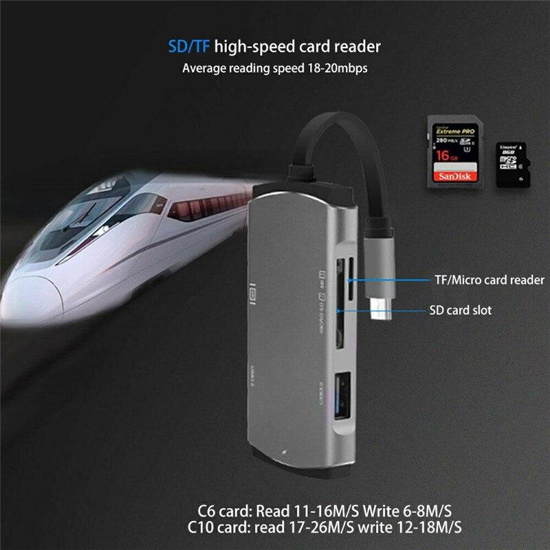 Basix Usb C moyeu USB-C à 4 K HDMI Type C moyeu USB 3.0 adaptateur séparateur pour imac pour Macbook pro TF Micro SD lecteur de carte Usb HUB