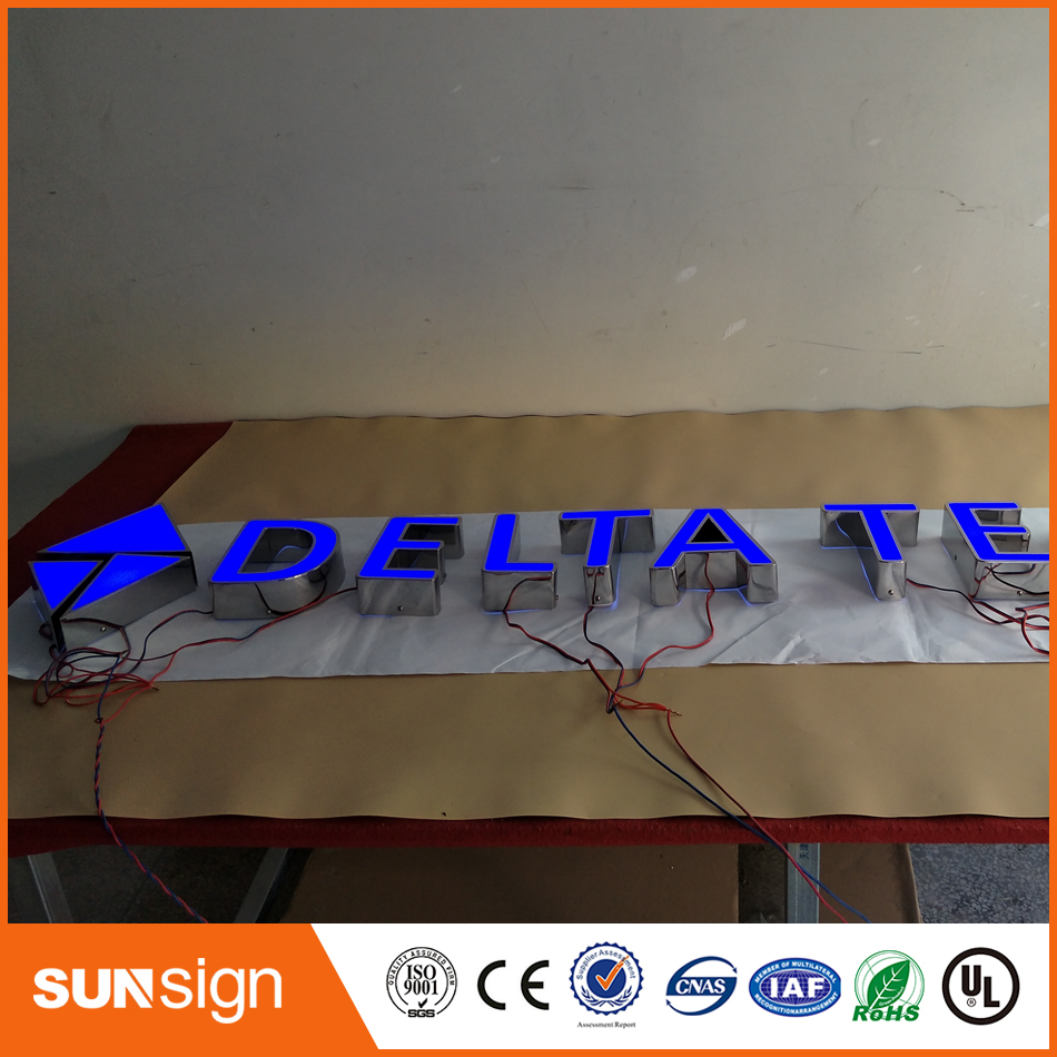 Frontlit Stainless Steel Shop Signs LED 3D Illuminated Letters Signs For Advertising Customized