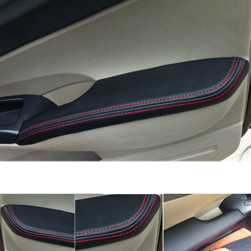 BBQ@FUKA Car Door Armrest Panel Surface Cover for 10th Honda Civic 2016 2017 2018 2019 2020 PU Leather Red Stitching Shell Trim