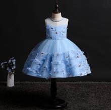 new girl princess dress Flower Sleeveless Beads Stage performance Wedding presiding baby clothes Gauze tutu
