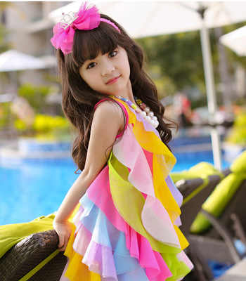 0025e44c4fbd ... New baby girls dress summer style sleeveless fancy dress for girls  party beach dress baby kids ...