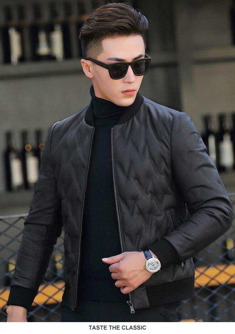 AYUNSUE 2018 Echtes Leder Jacke Männer Schaffell Mantel 90% Daunenjacke Herren Winter Baseball Jacken 4xl Chaqueta Hombre MY1301