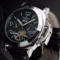 2015 New Leather Strap Sport Watch Tourbillon Automatic Mechanical Steampunk Watches Men Casual Clock Silver Relogio