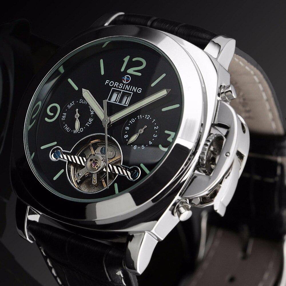 Forsining 2018 автоматические часы для мужчин Relogio Masculino кожаный ремешок Erkek коль Saati часы лучший бренд класса люкс Montre Homme Relojes