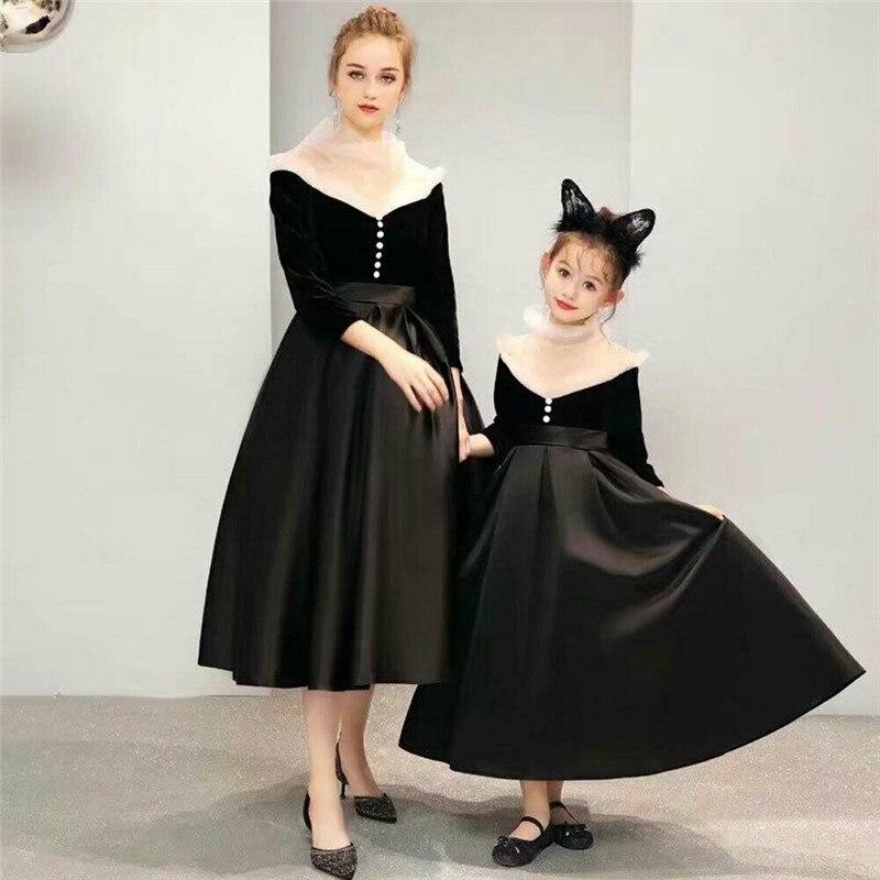 Robe de famille mère et fille correspondant robes formelles maman et fille maille Patchwork robes longues princesse soirée femmes