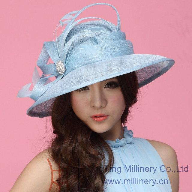 Envío gratis venta caliente de moda mujeres elegantes visten sombrero de verano sombreros mujeres sombrero Sinamay sol Shading de moda vestido de verano de Color azul