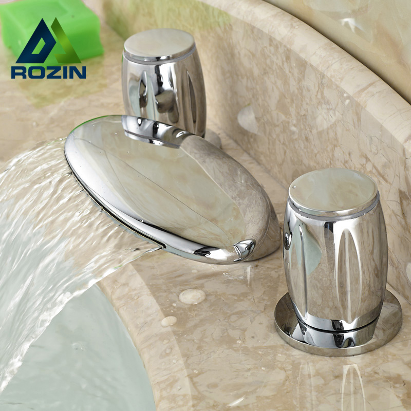 Double Round Handles Brass Waterfall Spout Basin Faucet Deck Mounted Widespread Water Taps in Chrome
