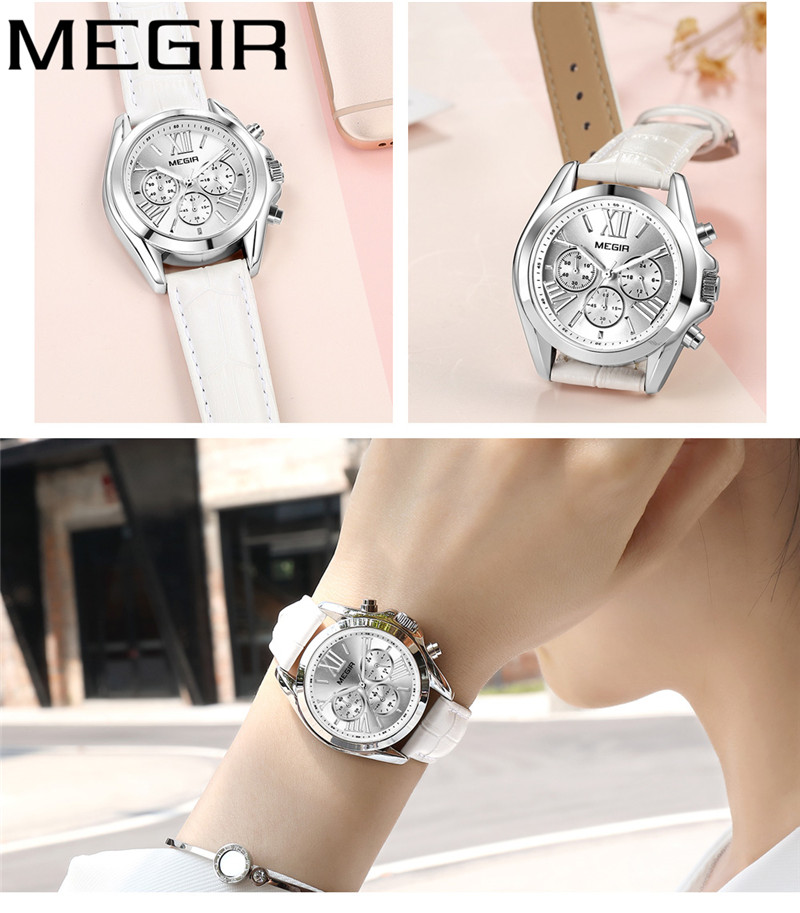 MEGIR Watch Women Top Brand Luxury Gold Chronograph Date Female Clock Genuine Leather Quartz Ladies Wristwatch Gift Box 2114