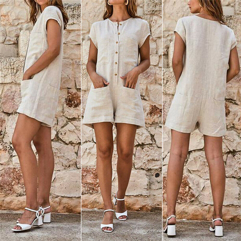 Summer Women Linen Cotton Beach Playsuits Casual Solid Button Pocket Overalls Short Jumpsuits Loose Holiday Playsuits Plus Size