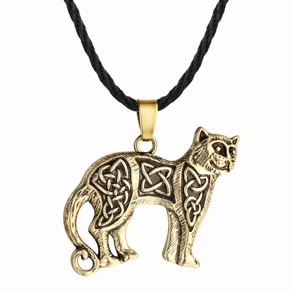 QIMING Viking Wolf Men Necklace Cat Dog Paw Bird Eagle Dragon Pendant Pagan Tibetan Amulet Odin Vintage Animal Necklace Women