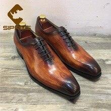 Sipriks/Мужские модельные туфли из лакированной кожи; коллекция года; итальянские оксфорды из натуральной коровьей кожи; официальная обувь под смокинг; мужские костюмы; темно-коричневый цвет; европейский размер 45