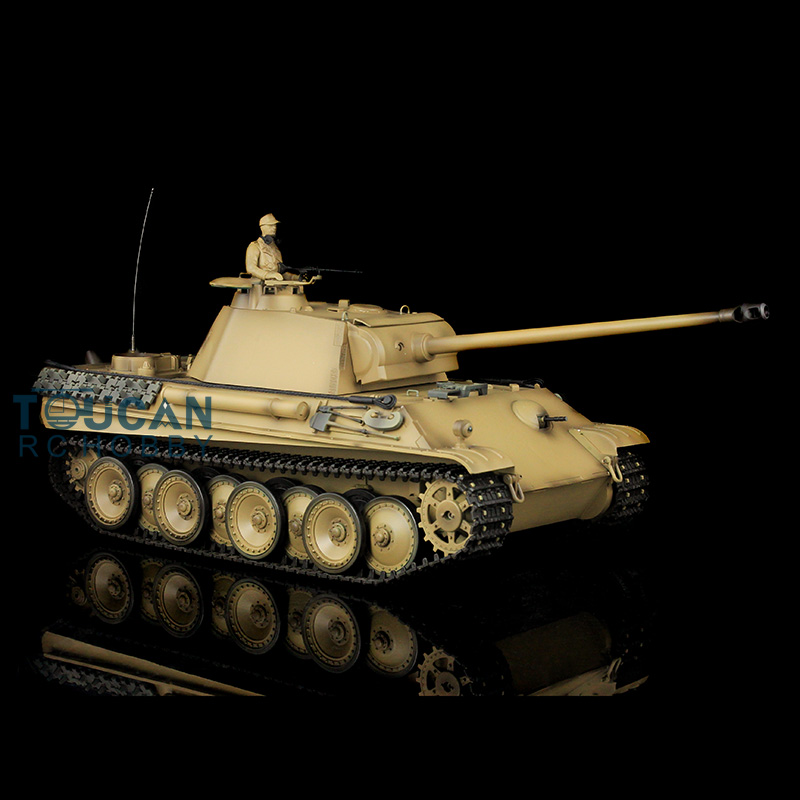 1/16 Scale HengLong Yellow German Panther G RTR RC Tank 3879 Metal Tracks Wheels 360 Degrees Rotating Turret 2 4ghz 1 16 scale henglong deep green german leopard2a6 rc rtr tank model metal tracks wheels 360 degrees rotation turret 3889