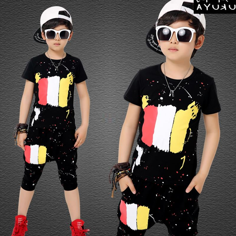 Kids Clothes For Boys Summer Boys Sports Suits Striped Cartoon T-Shirt + Pants 2Pcs Boys Clothing Sets Fashion Baby Clothes Boy
