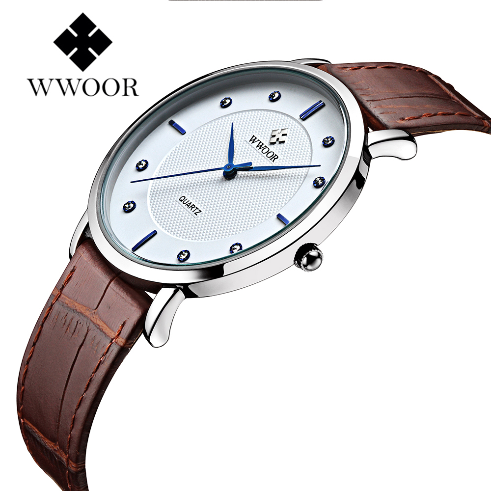 все цены на WWOOR Brand Simple Watch Japan Quartz Movement Ultra Thin Case Fashion Mens Watches Genuine Leather Band Casual Waterproof Clock онлайн