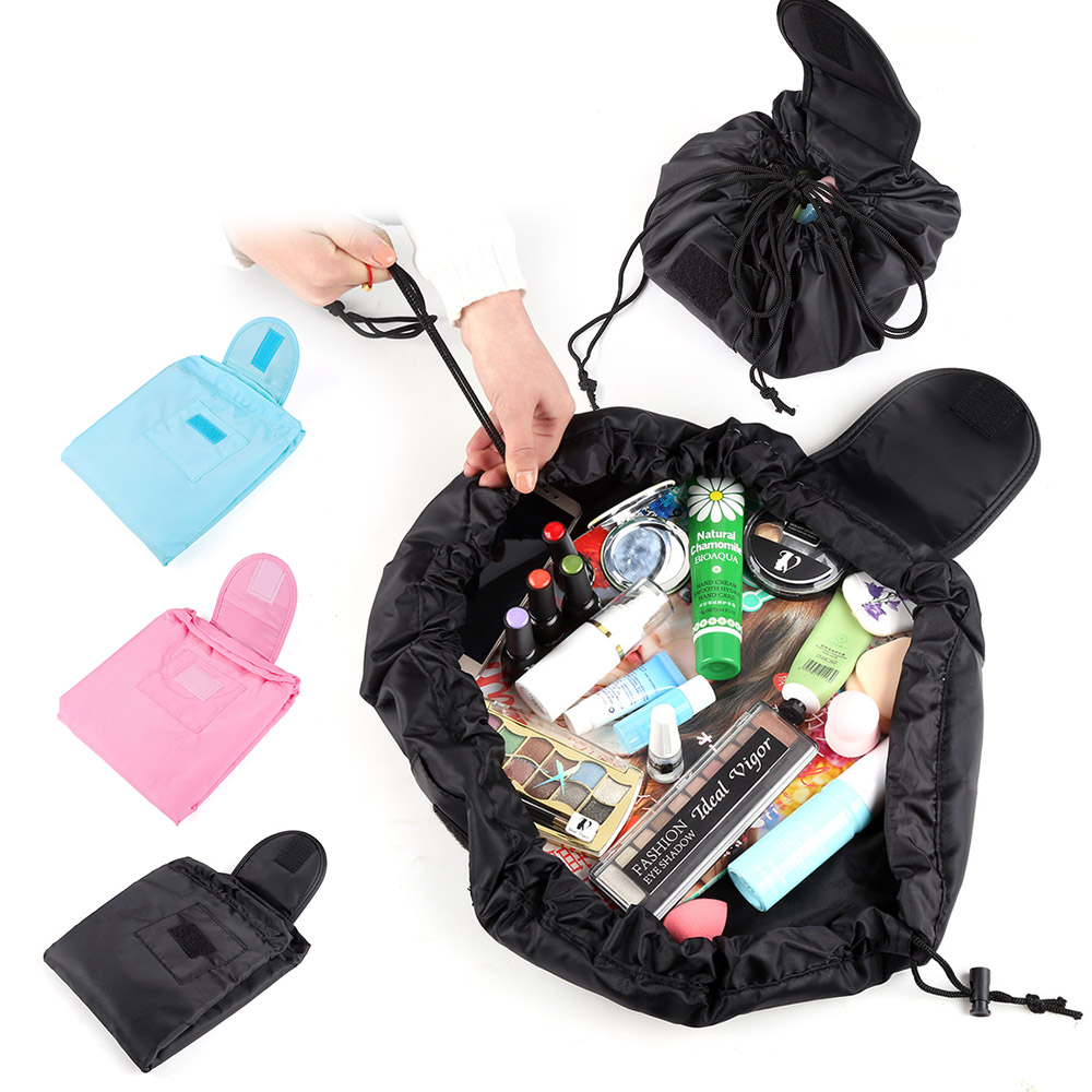 Fashion Drawstring Cosmetic Bag Polyester Portable Lazy Makeup Organizers Large Capacity Make Up Travel Pouch Cosmetics