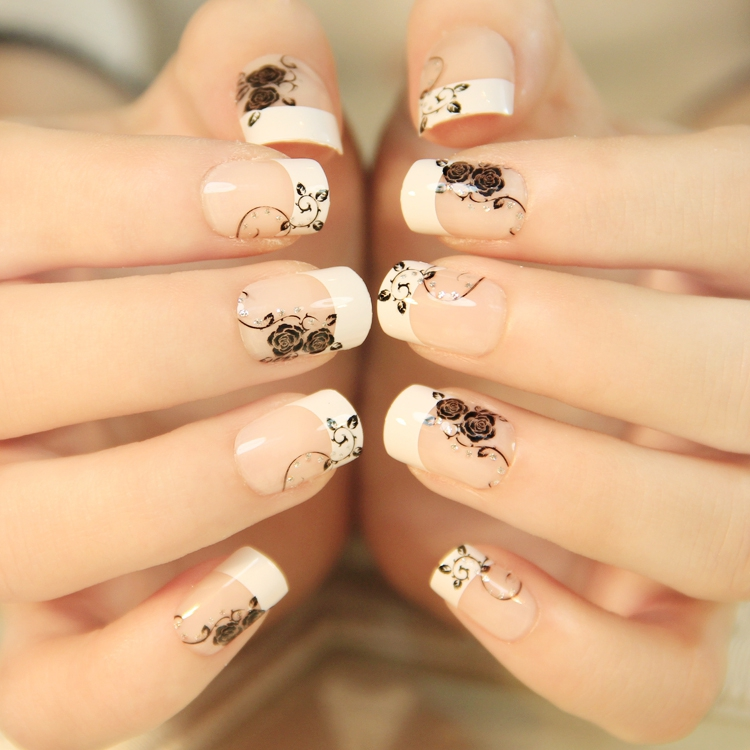 2016 New Top recommend Classic French Black Rose with fake nails ...