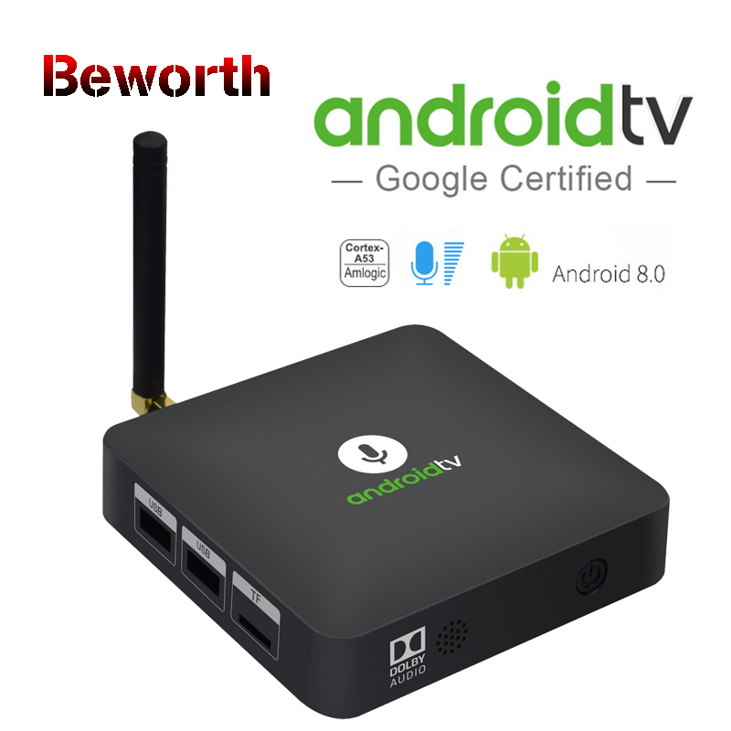 MECOOL Androidtv KM8 ATV Google Voice Control Smart TV BOX Android 8.0 Amlogic S905X 2GB 16GB BT4.2 4K Set Top Box Media Player