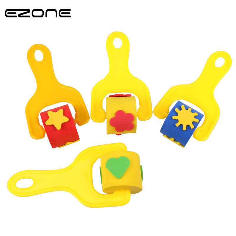 Labels, Indexes & Stamps Ezone 4pcs/set Kawaii Badge Children Early Art Craft Painting Tool Sponge Paint Roller Brush Plastic Handle Stationery Papelaria Badge Holder & Accessories
