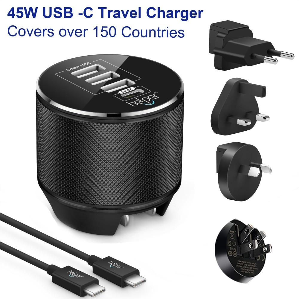 Usb de type-C Charge 1-Port 5 V/3A 15 W USB-C & 3-port Port usb Voyage USB Chargeur Mural avec US/EU/UK/AU pour USB-C dispositifs