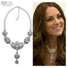 Nueva cadena de la perla simulada collar de Kate Middleton princesa collares y colgantes de moda de lujo gargantilla collar colgante de cristal