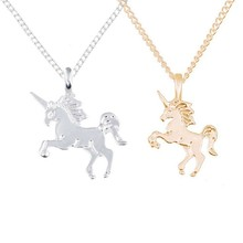 e6cbdb13ee2d FUNIQUE caballo de moda colgante collares para las mujeres clavícula oro  plata aleación cadena collar gargantilla partido