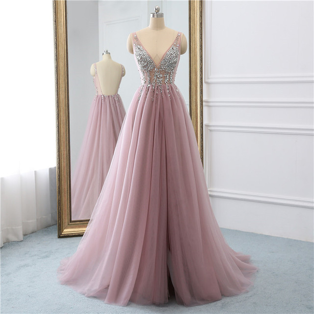 Sexy Tulle Long Prom Dresses 2019 New Arrival Backless Sweep Train Beaded A Line Special Occasion Evening Gowns Custom Made 2