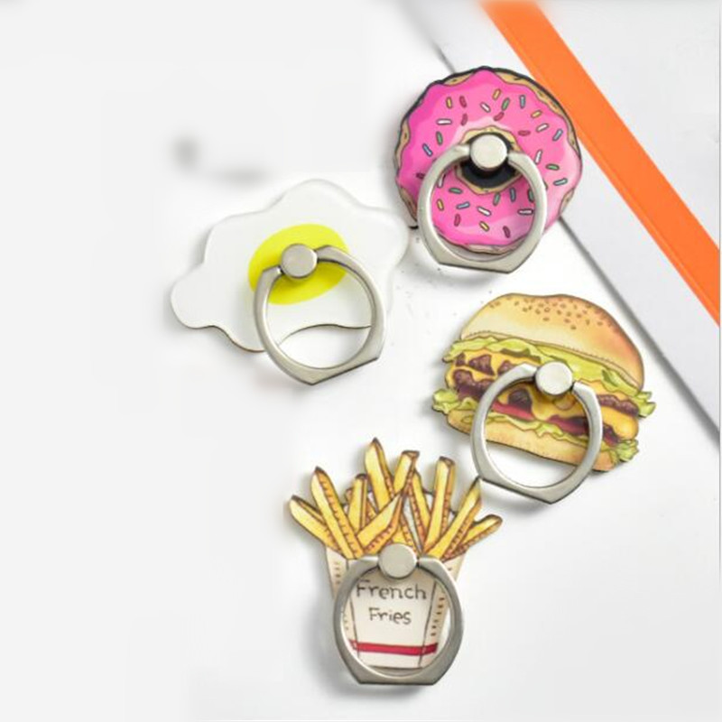 UVR 360 Degree Food French Fries Burger Donut Finger Ring Smartphone Stand Holder Mobile Phone Snowman Holder For All Phone