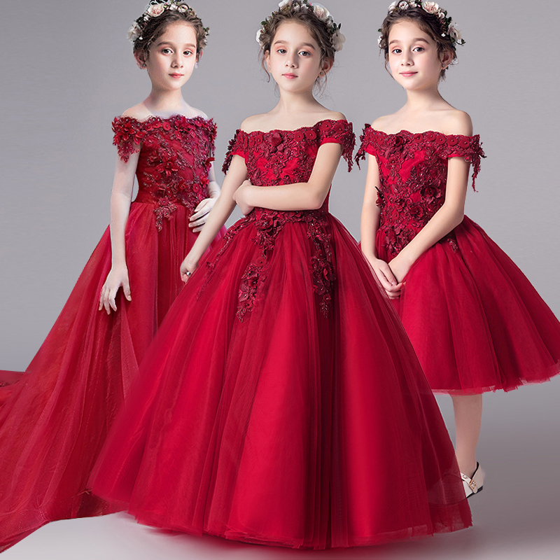 Romantic Flower Girl Wedding Bridesmaid Dress 2019 New Bead Decoration Long Lace Dress Flower Girl Party Dress