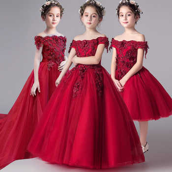 Romantic Flower Girl Wedding Bridesmaid Dress 2019 New Bead Decoration Long Lace Dress Flower Girl Party Dress - DISCOUNT ITEM  30% OFF All Category