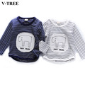 V-TREE T-shirts For Girls And Boys Spring Children's Cartoon Striped T-shirt Long-sleeved Cotton Shirt For Children Kids Clothes