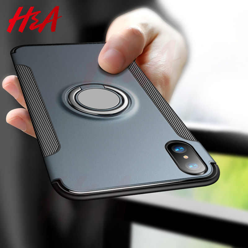 H&A Luxury Shockproof Phone Case For iPhone X XR XS Max Magnetic Ring Stand Phone Cover For iPhone XS Max XR X Car Holder Cases