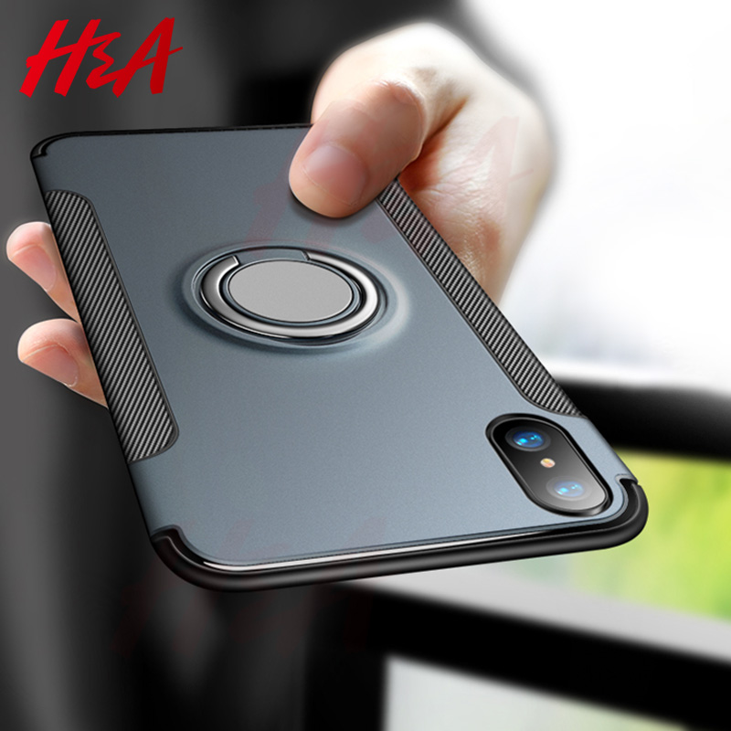 H&A Luxury Shockproof Phone Case For iPhone X XR XS Max Magnetic Ring Stand Phone Cover For iPhone XS Max XR X Car Holder Cases title=