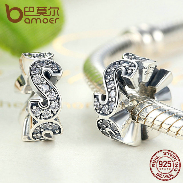 """Sterling Silver Spacer """"S"""" Charm"""