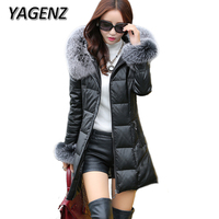 Winter PU Leather Jacket Lady Fox Fur Hooded Coats High Grade Slim Down Cotton Thick Warm