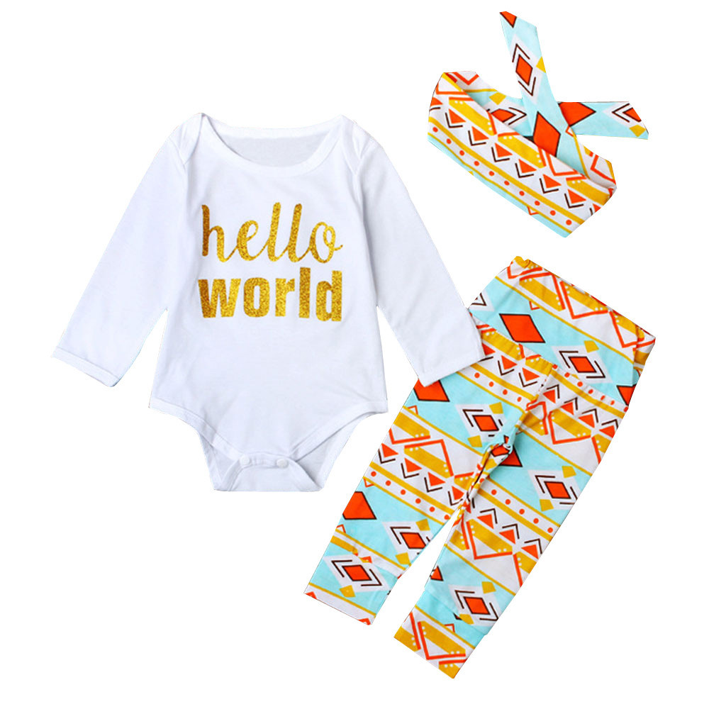 11.11 2017 Children Baby Clothes girl Rompers Floral Pants Leggings Headband 3pcs Outfits Set Newborn Kids costume boy Clothing