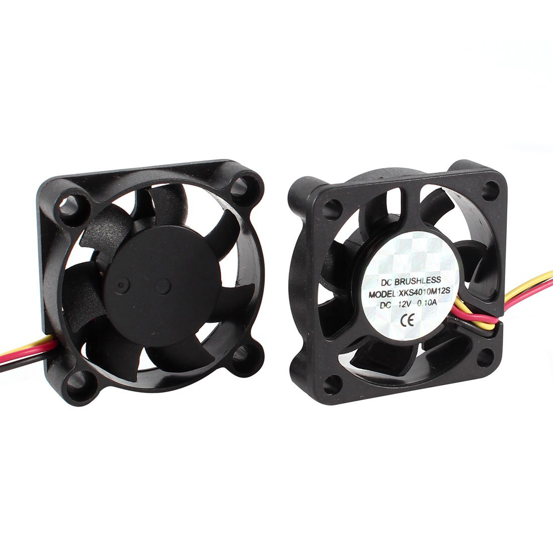 YOC-2 Pcs 3 Pin 40mm Square PC Computer Cooling Fan DC 12V Black