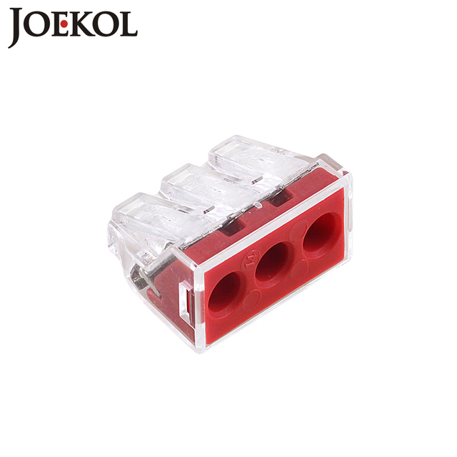 (10pcs/lot) JK-103D(wago 773-173) Push wire wiring connector For Junction box 3 pin conductor terminal block