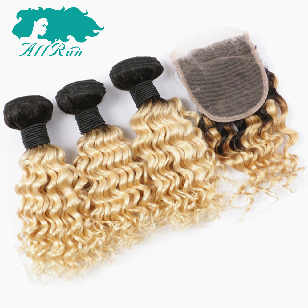 Allrun Pre-Colored Ombre 3 Bundles Malaysian Deep Wave With 4*4 Lace Closure 100% Remy Hair For Sale Human Hair Extensions