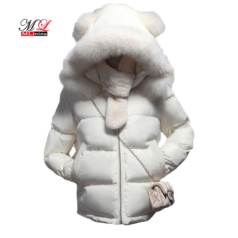 MLinina Fur Collar Down   Parka   Cotton Jacket 2017 Winter Jacket Women Thick Snow Wear Coat Lady Clothing Female Jackets   Parkas