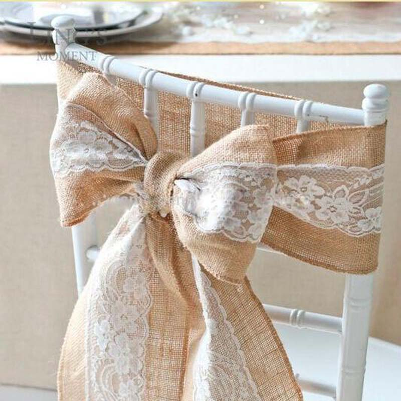 Chair Covers For Parties 2 Table ヾ ノvintage Burlap Lace Embroidery Wedding Sashes Jute Vintage Ribbon Party Decoration Chaise De