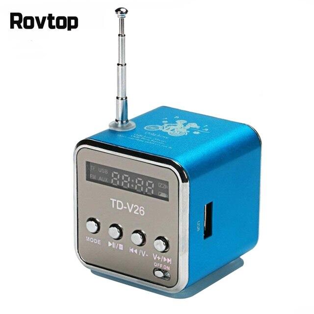 Rovtop mini receptor de rádio fm portátil, TD V26, digital, com tela lcd, alto falante estéreo, suporta cartão micro tf