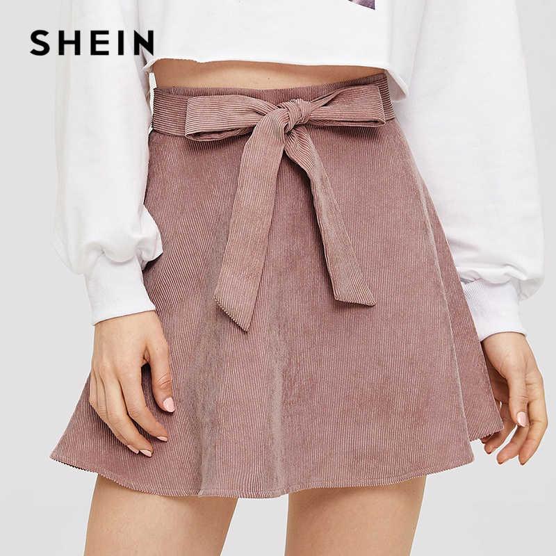 78ff25e03 SHEIN Pink Corduroy Wide Waist Skirt Weekend Casual Mid Waist Mini Cute  Flared Skirts Women 2018